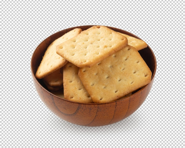 Cracker cookies in wooden bowl isolated