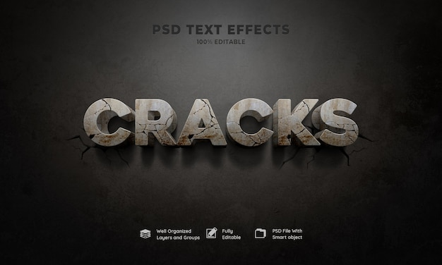 Cracks 3d text effect