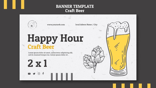 Craft beer happy hour and glass banner