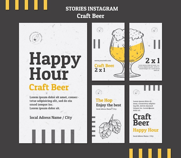 Craft beer happy hour instagram stories