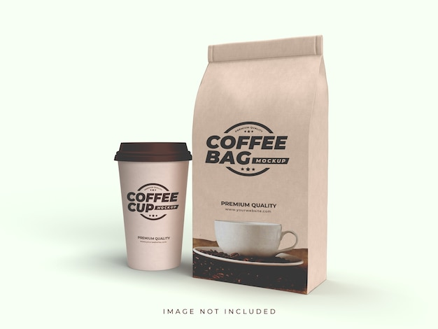Craft brown paper bag and coffee cup mockup
