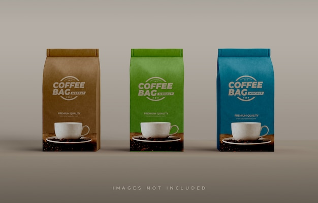 Craft paper bag and coffee cup mock-up