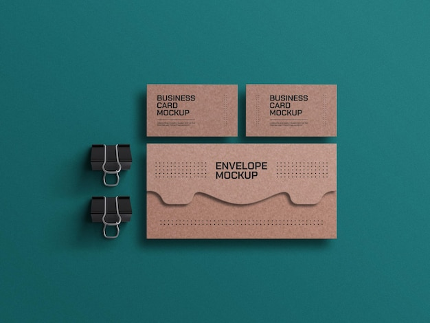 Craft paper envelope with business card mockup