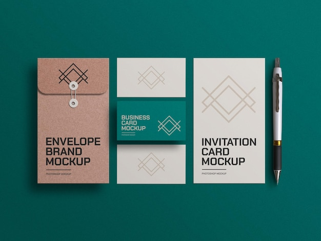 Craft paper envelope with business cards and invitation card mockup