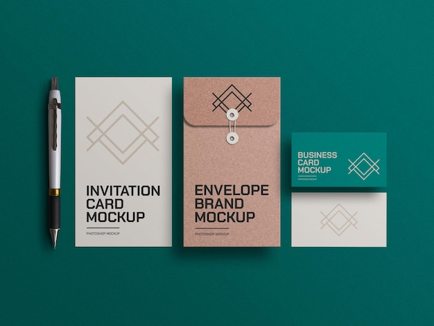 Craft paper envelope with business cards mockup