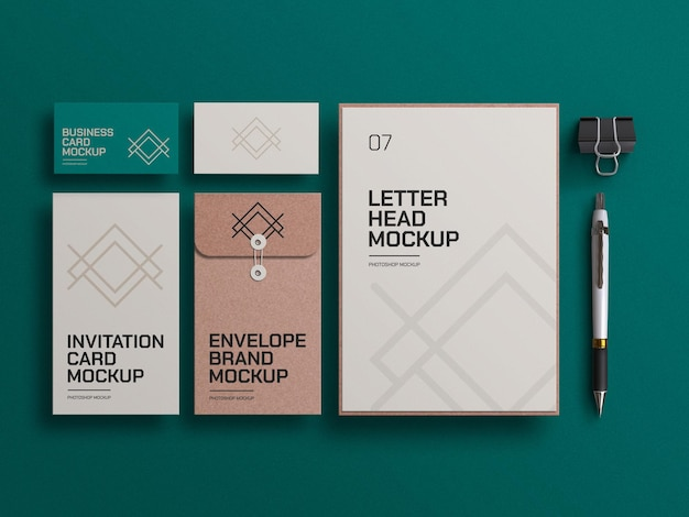 Craft paper envelope with letterhead mockup