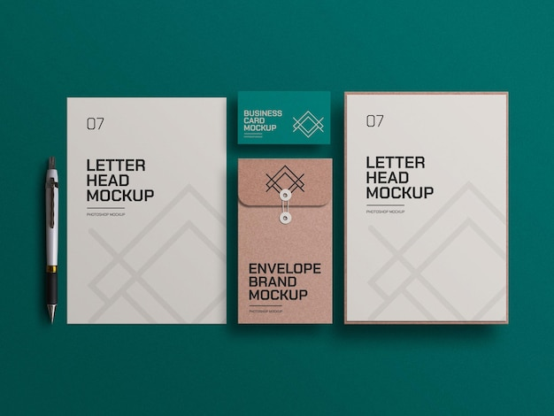 Craft paper envelope with letterheads mockup
