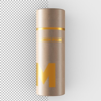 Craft paper tube  golden effect packaging mockup
