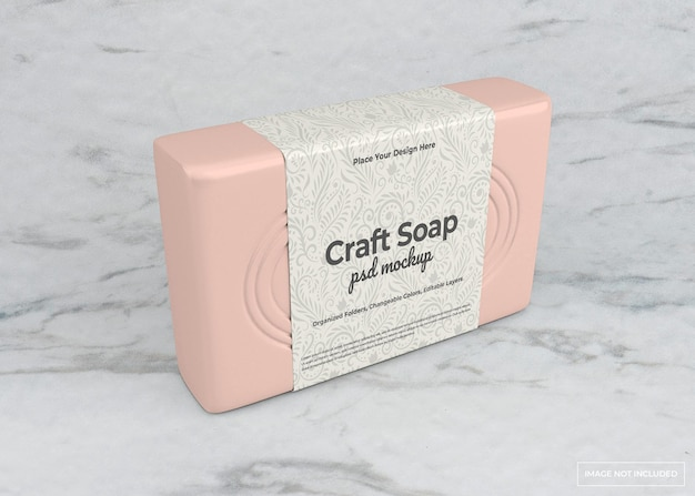 Craft soap mockup in beauty concept