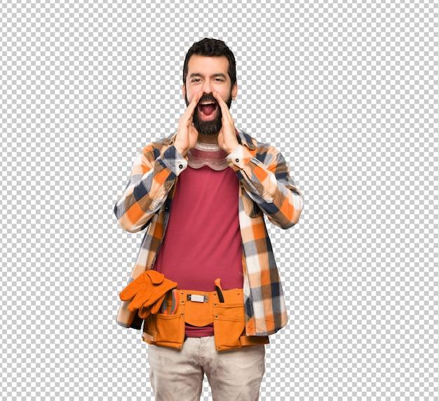 Craftsman man shouting and announcing something