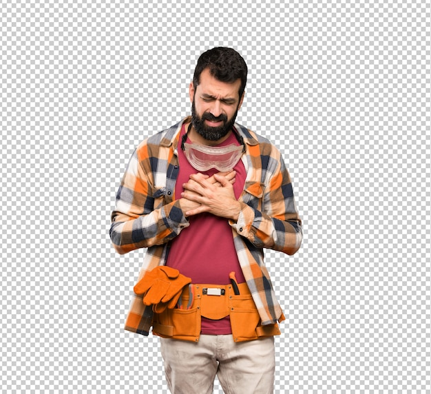 Craftsmen man having a pain in the heart