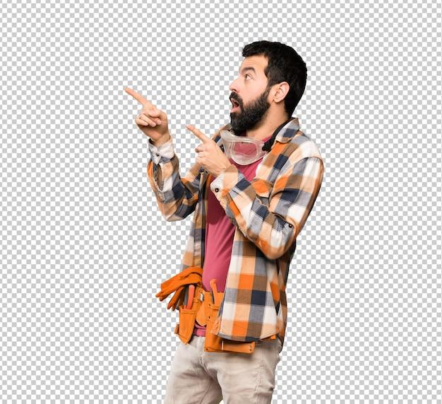 Craftsmen man pointing away