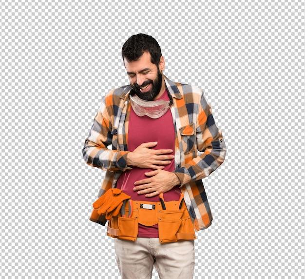 Craftsmen man smiling a lot