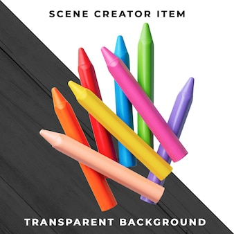 Crayons object transparent psd