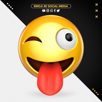Crazy 3d emoji with tongue out