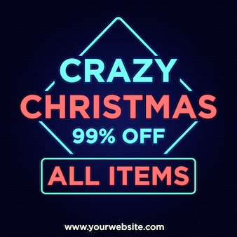 Crazy christmas deals 99% off banner in neon style design