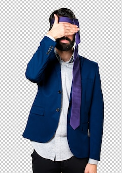 Crazy and drunk businessman covering his eyes