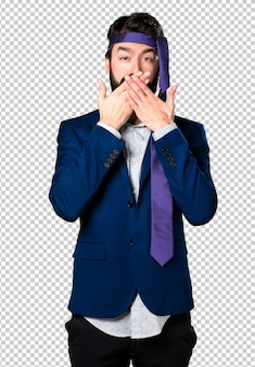 Crazy and drunk businessman covering his mouth