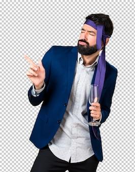 Crazy and drunk businessman dancing