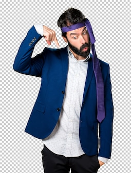 Crazy and drunk businessman pointing down