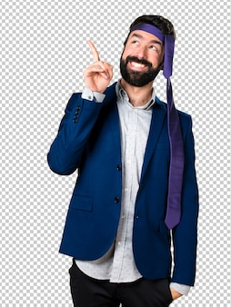 Crazy and drunk businessman pointing up