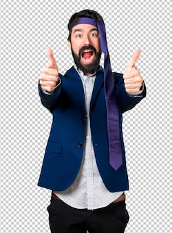 Crazy and drunk businessman with thumb up