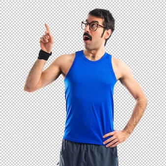 Crazy sportman thinking over white background