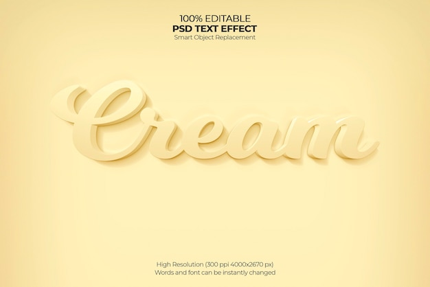 Cream 3d text effect