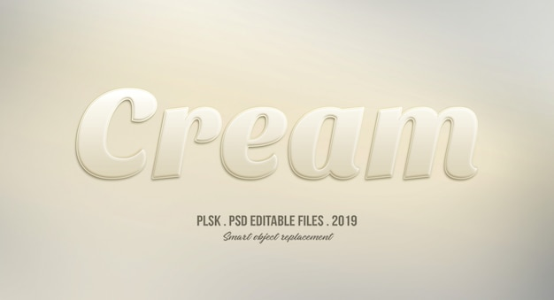 Cream 3d text style effect