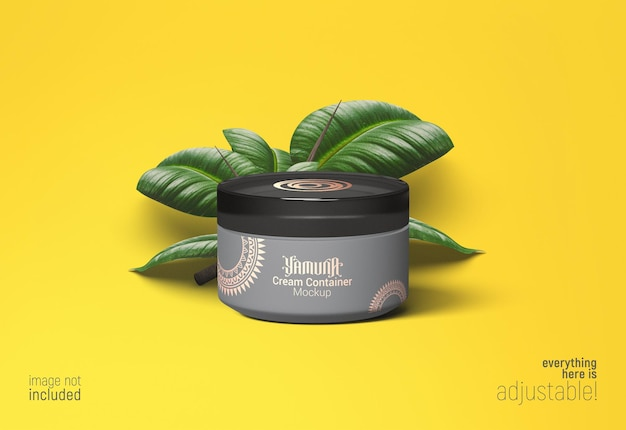 Cream container mockup with a bunch of leaves