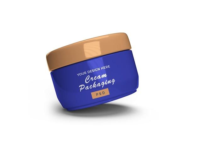 3d 렌더링의 크림 화장품 항아리 3d 모형 디자인