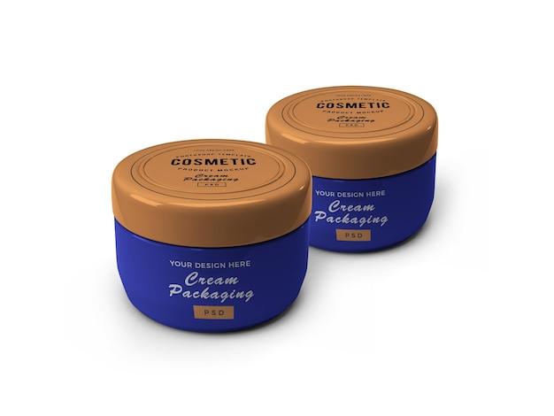 Cream cosmetic jar 3d mockup
