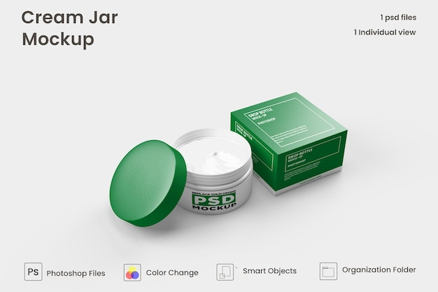 Cream jar cosmetic mockup premium psd