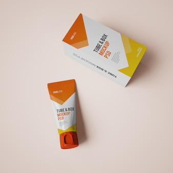Cream tube and box mockup with editable design