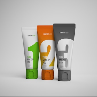 Cream tubes mockup with editable design psd