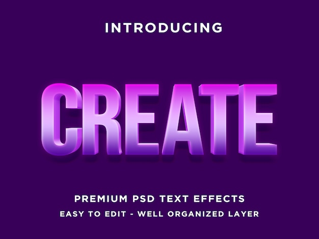 Create - 3d purple text effect psd