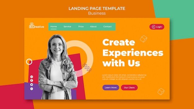 Create experiences landing page template