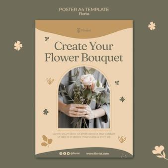 Crea un modello di poster per bouquet di fiori Psd Gratuite