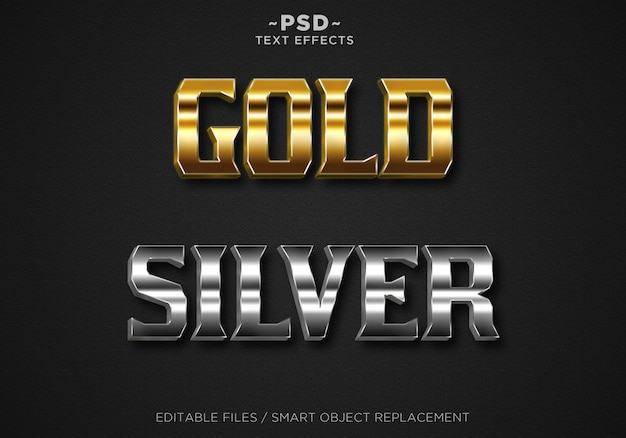 Create gold and silver editable text effect