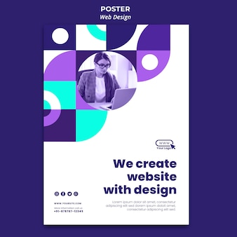 Creating website with design poster template