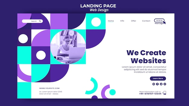 Creating websites landing page template