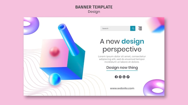Creative 3d designs banner template