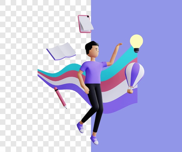 Creative 3d illustration concept with simple design