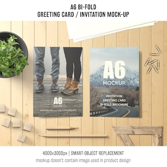 Creative a6 bi-fold greeting card mockup