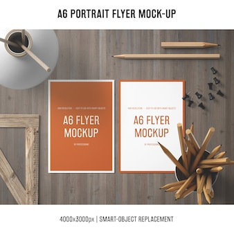 Creative a6 portrait flyer mock-up