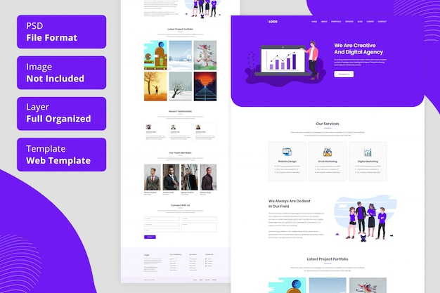 Creative agency or creative and digital agency landing page web template ui design