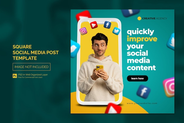 Creative agency social media post or square web advertising banner template