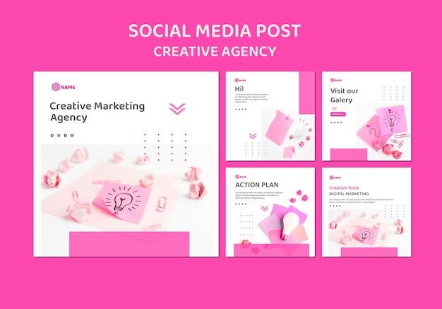 Шаблон сообщения в социальных сетях креативного агентства