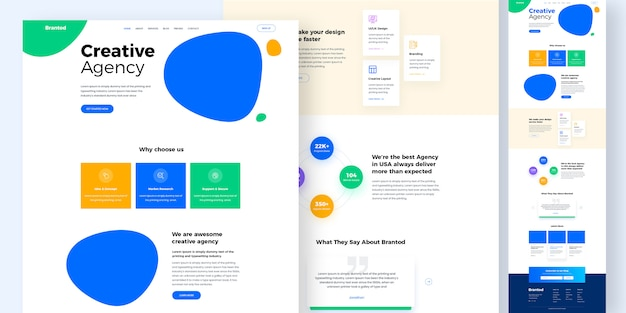 Creative agency website design mockup or landing page template