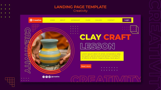 創造的で想像力豊かなランディングページのデザインテンプレート